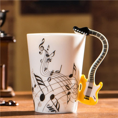 Guitar Ceramic Coffee Cup Music Note Yellow Background
