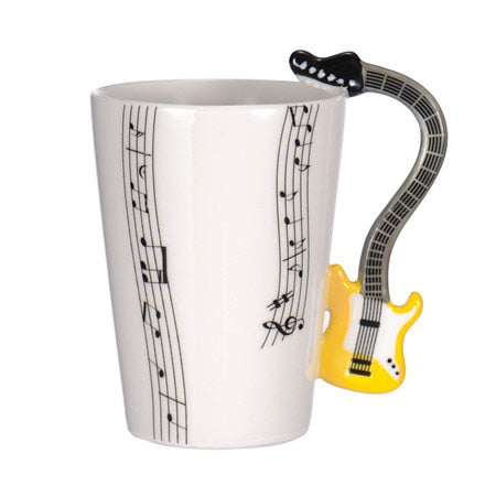Guitar Ceramic Coffee Cup Music Note Yellow