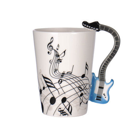 Guitar Ceramic Coffee Cup Music Note Blue
