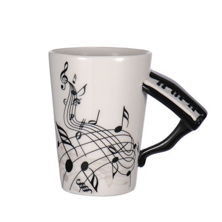 Guitar Ceramic Coffee Cup Music Note Piano
