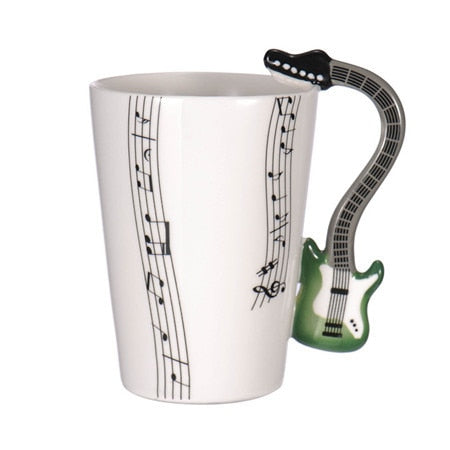 Guitar Ceramic Coffee Cup Music Note Green