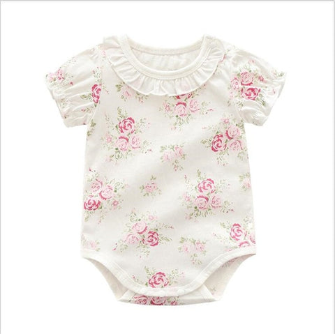 Adorable floral lace baby girls short sleeve jumpsuit summer cotton newborn/infant onesies - Bentley York