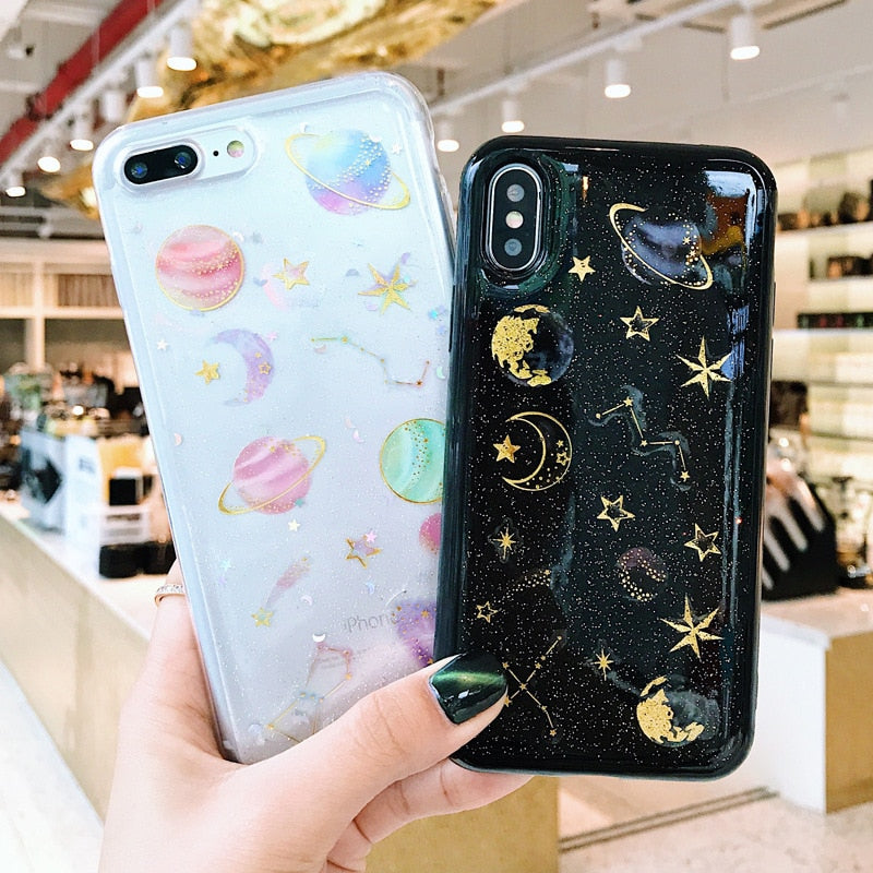 Cell Phone Case Samsung Glitter universe & planet soft case