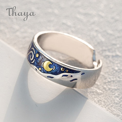 Thaya Genuine Van Gogh's Enamel Rings Jewelry 925 Silver Glitter Deer Sky Gold Moon Star Canvas Finger Ring Romantic for Women - Bentley York