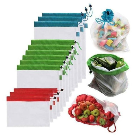 Reusable Mesh Produce Bags 12pcs Washable Eco Friendly