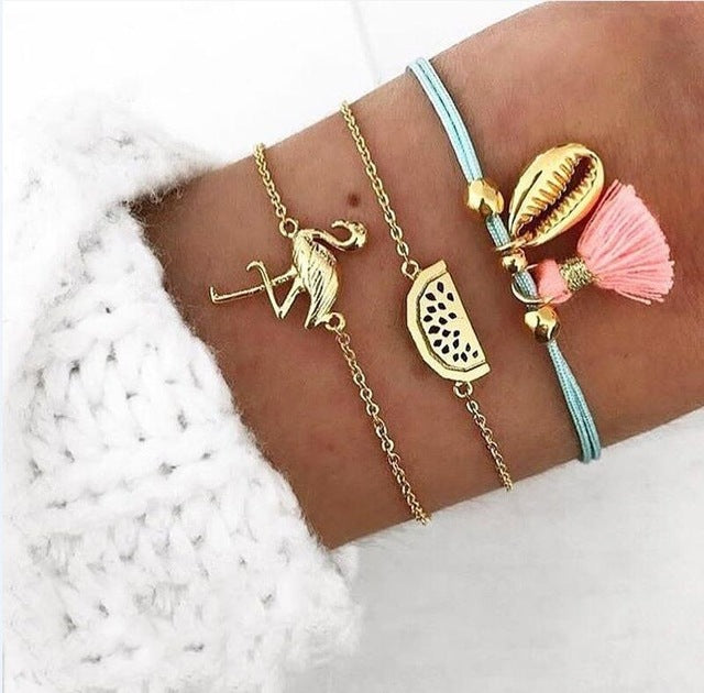 30 Styles Mix Lotus Shell Turtle Heart Wave LOVE Crystal Marble Stone Bracelets for Women Boho Tassel Bracelet Jewelry Wholesale - Bentley York