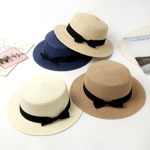 2019 Women Summer Hat Beach Straw Hat Panama Ladies Cap Fashionable Handmade Casual Flat Brim Bowknot Sun Hats for Women - Bentley York