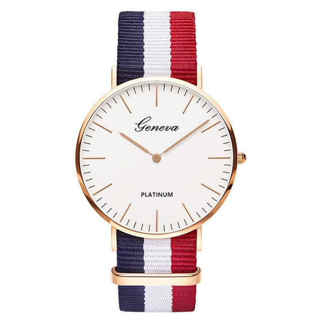 Womens Quartz Watch Nylon strap Style Top Brand Navy White Red