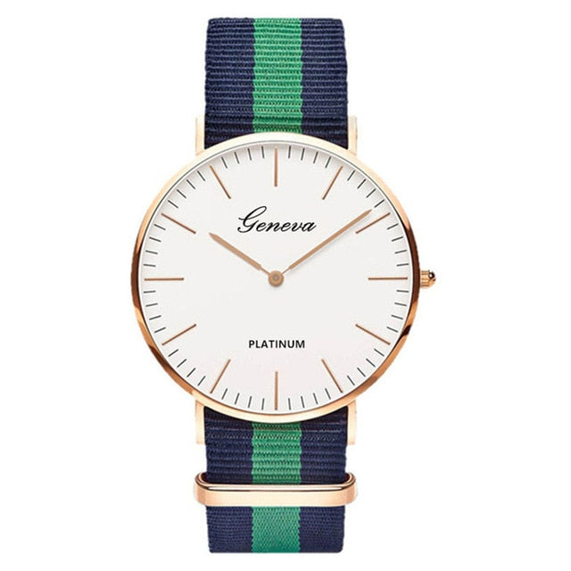 Womens Quartz Watch Nylon strap Style Top Brand Navy Green