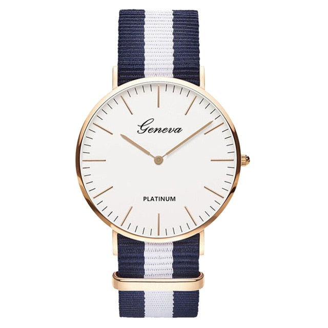 Womens Quartz Watch Nylon strap Style Top Brand Navy White