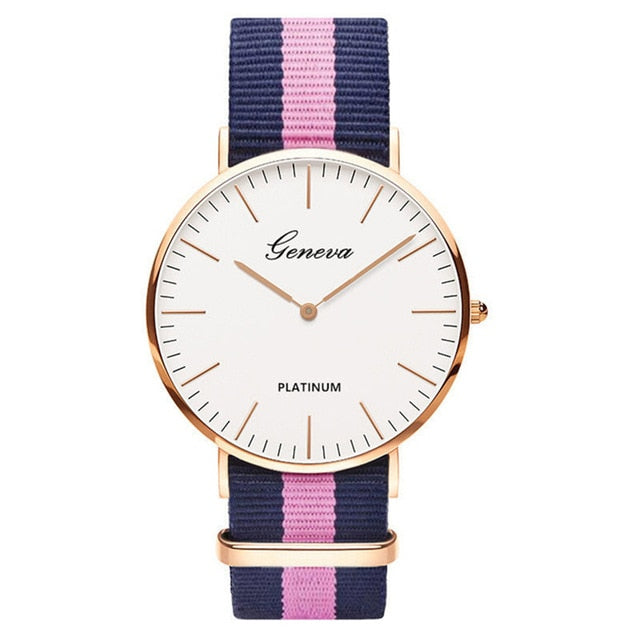 Womens Quartz Watch Nylon strap Style Top Brand Navy Pink