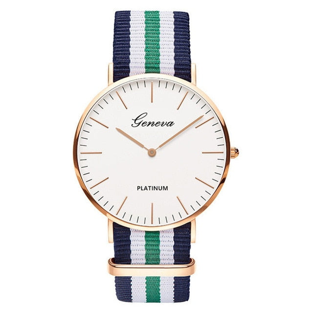 Womens Quartz Watch Nylon strap Style Top Brand Navy Green White