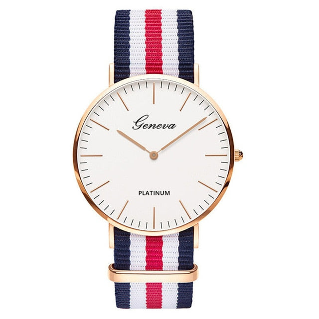 Womens Quartz Watch Nylon strap Style Top Brand Navy Red White