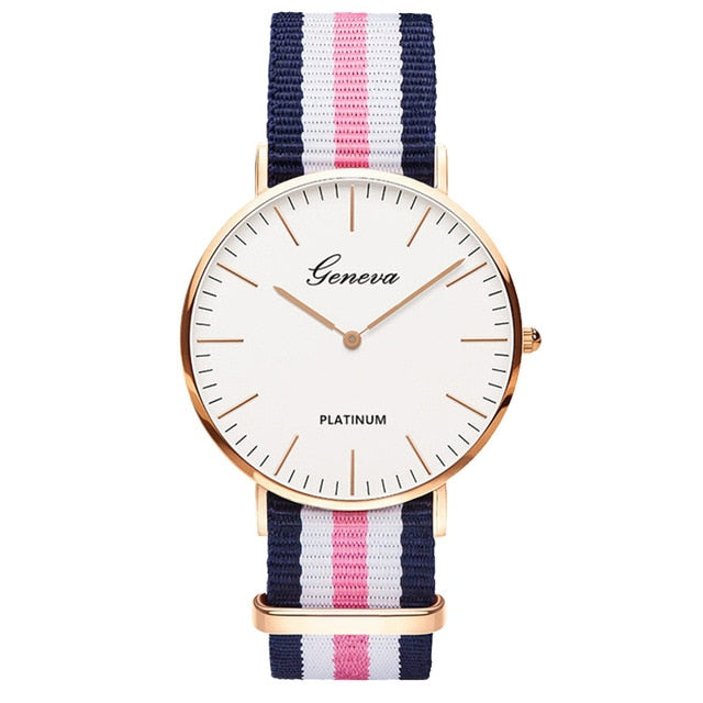 Womens Quartz Watch Nylon strap Style Top Brand Navy Pink White
