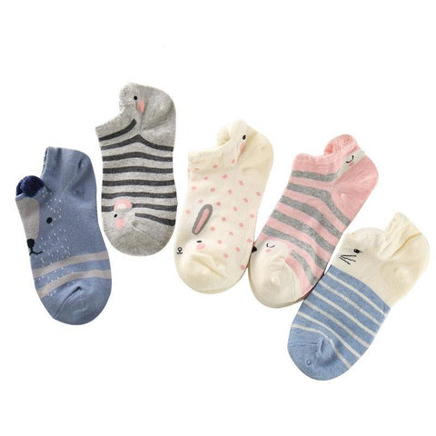 Women Ankle Socks Funny Cute Cartoon Animals 5 Pairs