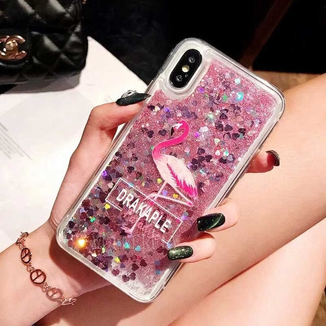 Pink Flamingo Cell Phone Case Quicksand For Samsung