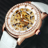2019 SH Fashion Elegant Women Watches Auto Mechanical Iced Out Crystal Skeleton Dial Leather Strap Hot Sale Ladies Female Clock - Bentley York