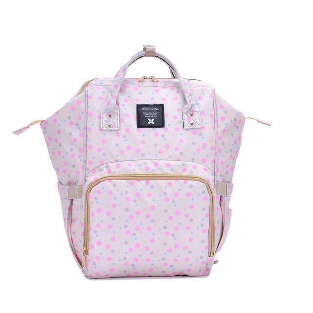 Cartoon Print Baby Diaper Bag Backpack Large Capacity Waterproof Maternity Cosmetic Bag Modish 3-In-1 Stroller Hanging Bac - Bentley York