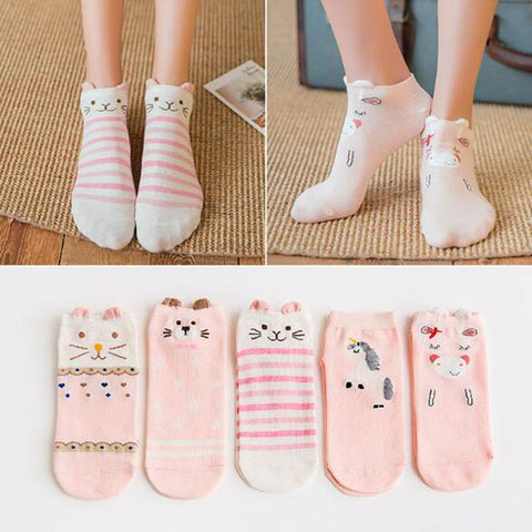 Cartoon Socks Unicorn Cat Fox 3D Ears Animal 5 Pairs