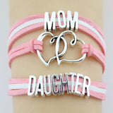 MOM Daughter Bracelet Double Heart Charm