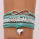 SCOUT MOM Bracelet Heart Charm Braided Leather