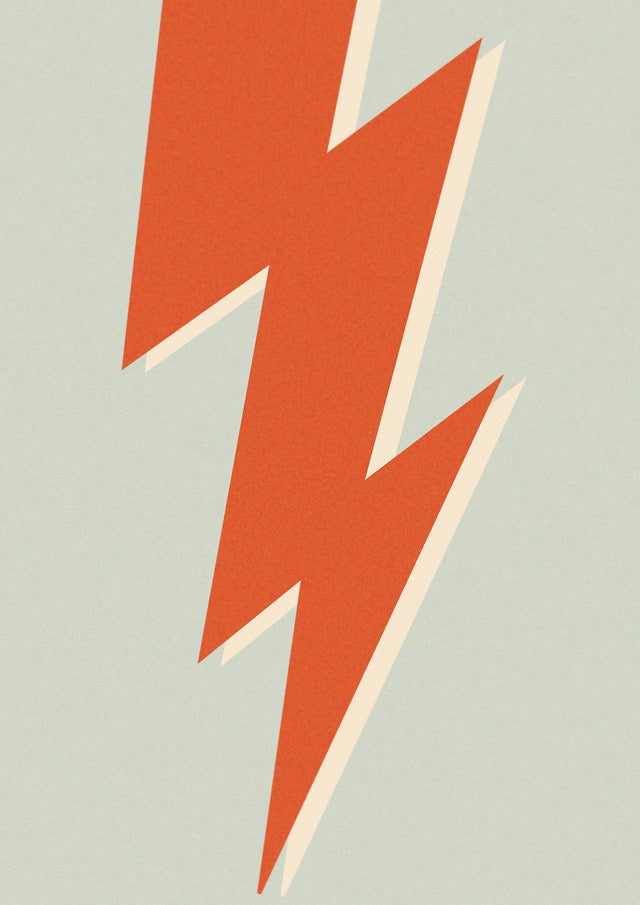 Lightning Bolt Blue Screenprint