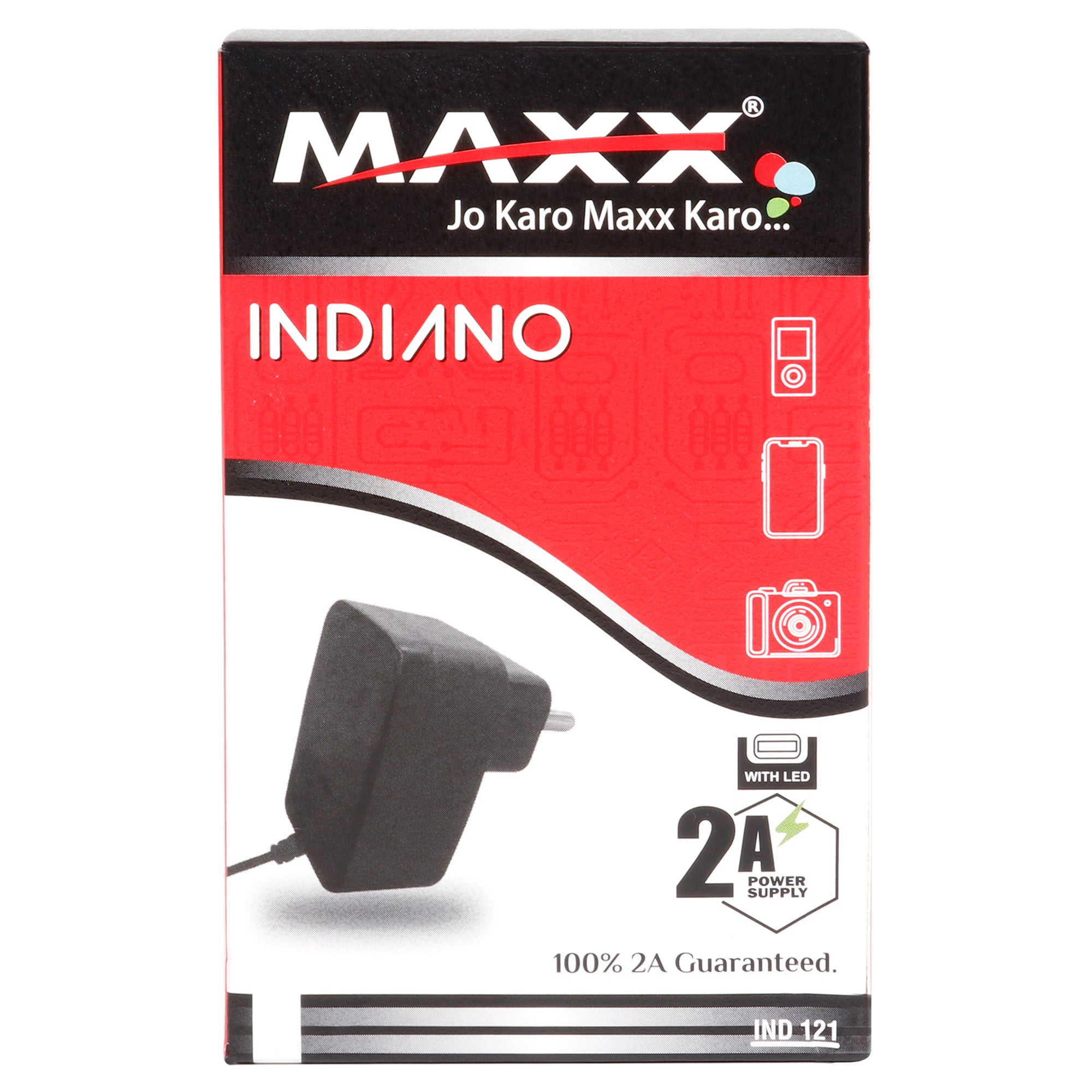 Maxx INDIANO-5V-2A-MICRO USB 1.2 MTR Wired Fast Mobile Charger (Adaptor) for Smart Phones ,Compatible with VIVO,OPPO,MI,SAMSUNG
