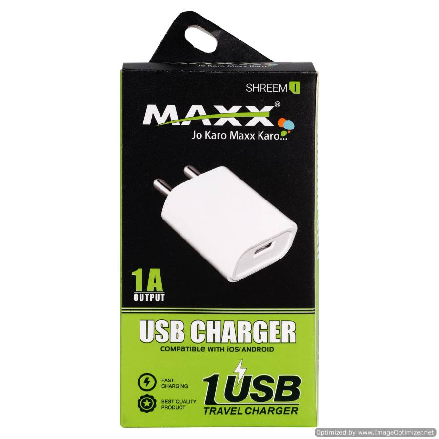 Maxx SHREEM I-5V-2A-1USB Fast Mobile Charger (Adaptor) with Data SYNC Cable, white for Smart Phones ,Compatible with VIVO,OPPO,MI,SAMSUNG