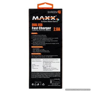 Maxx SHREEM IV-5V-2A-2USB Fast Mobile Charger (Adaptor) with Charging Cable,white for Smart Phones ,Compatible with VIVO,OPPO,MI,SAMSUNG