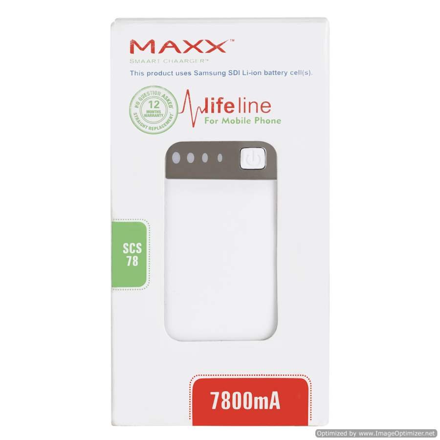 Maxx Power Bank SCS 7800 mAh , Compatible with Apple, SAMSUNG, OPPO,VIVO,MI & other Android/iOS devices, Weight 200grms