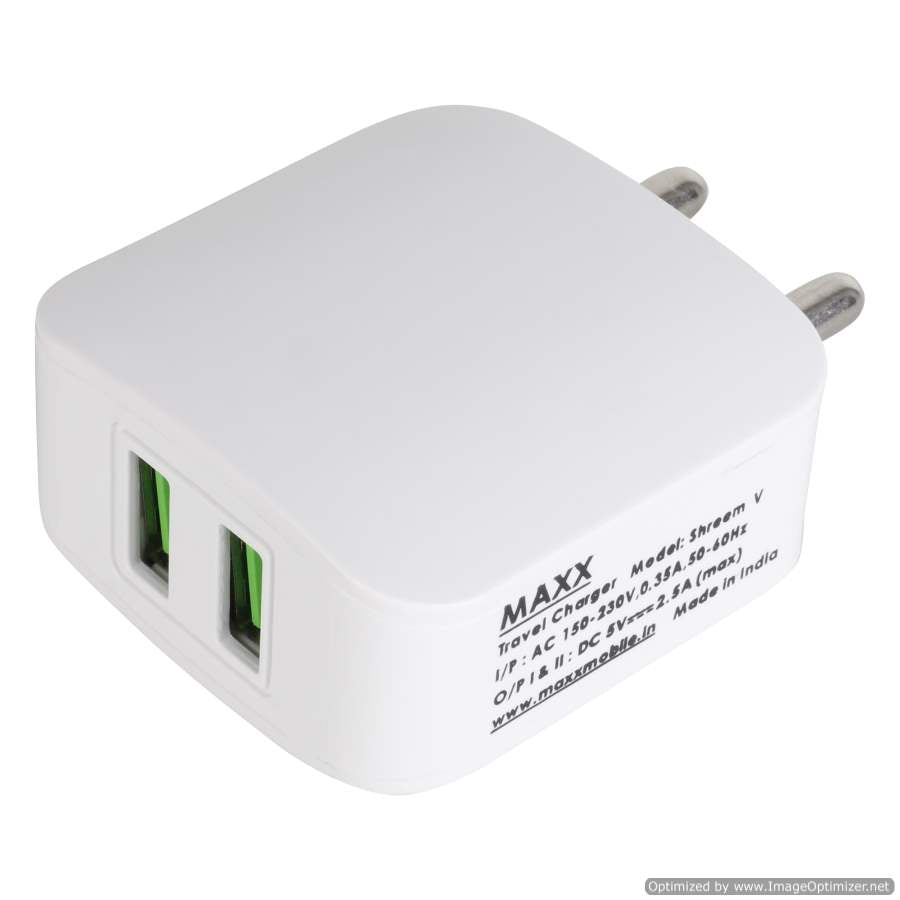 Maxx SHREEM V-5V-2.5A-2USB Fast Mobile Charger (Adaptor) with Data SYNC Cable, white for Smart Phones ,Compatible with Apple,VIVO,OPPO,MI,SAMSUNG