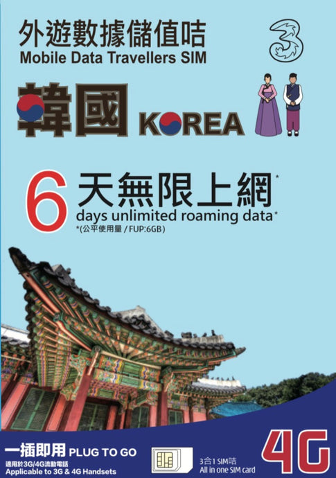 3HK South Korea 6 Days Unlimited Data