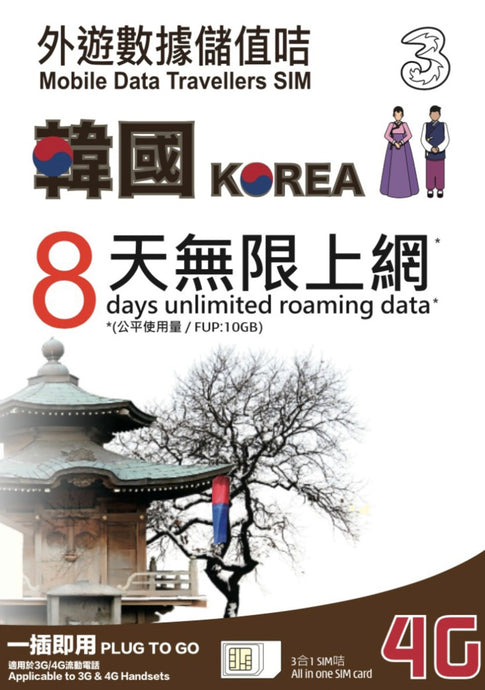 3HK South Korea 8 Days Unlimited Data