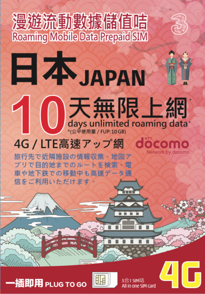 3HK Japan Docomo 10 Days Unlimited Data