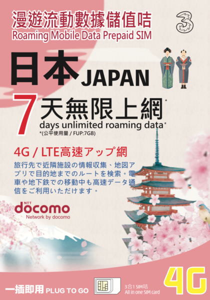 3HK Japan Docomo 7 Days Unlimited Data