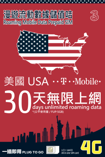 3HK USA 30 Days Unlimited Data