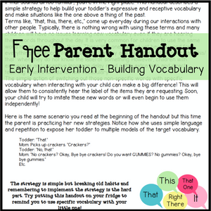 Free Parent Handout for Early Intervention - Building Vocabulary