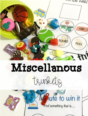 25-100 miscellaneous mini objects for speech therapy