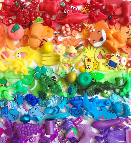 Rainbow trinkets for sensory bins, slime, speech therapy
