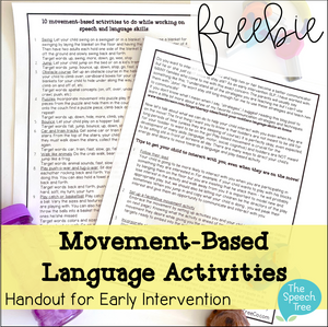 Movement-based Language Activities - Early Intervention Handout