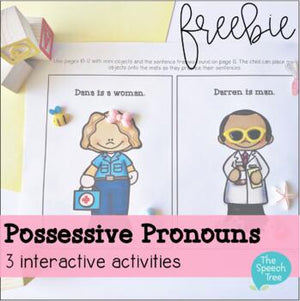 Freebie for Possessive Nouns and Pronouns Speech Therapy
