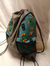 Load image into Gallery viewer, Minecraft Drawstring panel Backpack