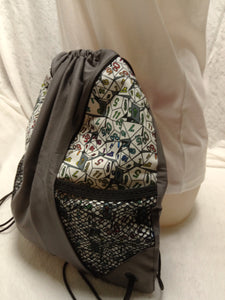Dice Drawstring Panel Backpack