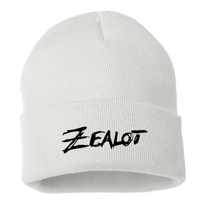 Zealot White Beanie: Embroidered Design by Zauntee
