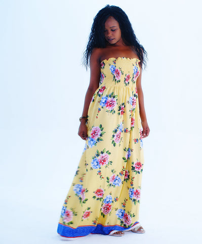 An Eye-Catching Floral Design Tube Top Long Maxi Dress - SkinDeepExperience
