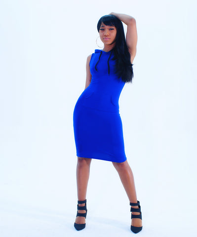A Chic Blue Fitted Hooded Mini Dress - SkinDeepExperience