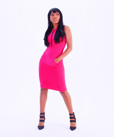 A Trendy Pink Fitted Hooded Mini Dress - SkinDeepExperience