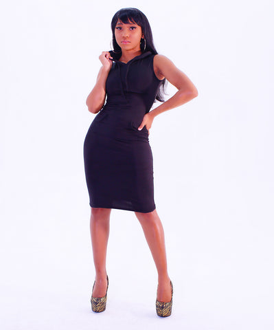 An Amazing Black Fitted Hood Mini Dress - SkinDeepExperience