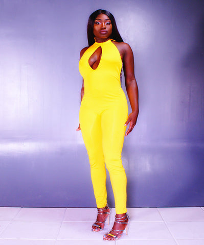 A Dashing Yellow Chain Back Accent Halter Jumpsuit - SkinDeepExperience