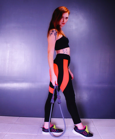 A Cute Black & Orange Gym Exercise Yoga Pants - SkinDeepExperience